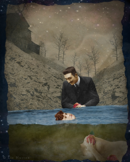 """Goodnight My Love"" Mixed Media: Digital Painting, Photomontage, Watercolor"