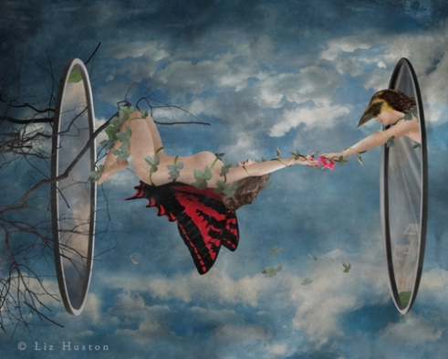 """""""If You Fall, Fly In To Yourself"""" Mixed Media: Digital Painting, Photomontage, Watercolor, Acrylic"""