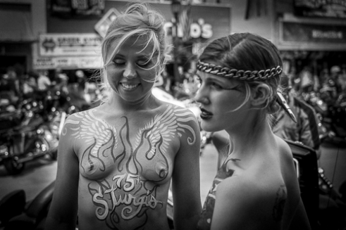 Body art at it's best displayed on main street Sturgis.