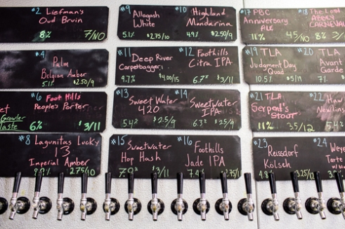 Carrboro, North Carolina - Sunday July 10, 2016 - Taps at the Carrboro Beverage Company in Carrboro, North Carolina, feature local brews and imports with their information listed below.